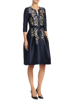AHLUWALIA Floral Embellished Dress in Midnight