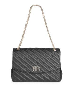 Matelasse Calfskin Leather Shoulder Bag - Burgundy, Noir