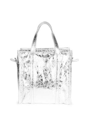 Bazar Shopper Small Aj Metallic Leather Tote Bag, Argento