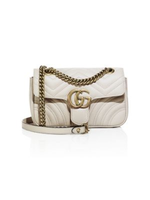 Mini Gg Marmont 2.0 Matelasse Leather Shoulder Bag - White