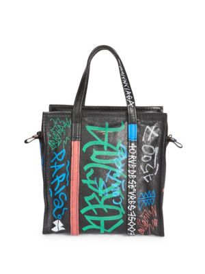 Bazar Graffiti Small Printed Textured-Leather Tote, Noir-Multi