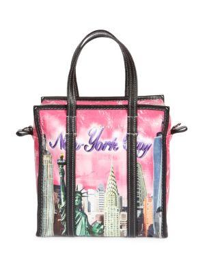 Arena Leather Bazar Small Shopper Tote Bag, Fuchsia-Multi