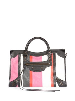"""Image of Chic carryall handbag with bold stripe motif. Double top carry handle. Brass-tone hardware. One outside zip pocket. Cotton lining.38.5""""W x 26""""H x 15""""D.Leather. Made in Italy."""