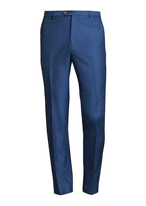 "Image of Complete your formal look with these wool-blend trousers. Belt loops. Button closure. Side slant pockets. Back buttoned welt pockets. Slim-fit. Rise, about 10"".Inseam, about 34"".Wool/cotton. Dry clean. Made in Italy."