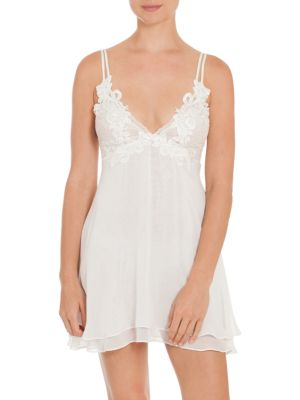 JONQUIL Chiffon Lace Chemise in Ivory