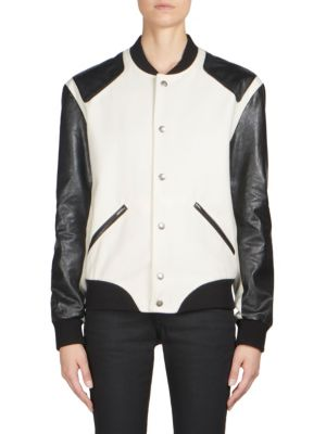 Varisty Heaven Chalk & Black Wool & Leather Bomber Jacket in White