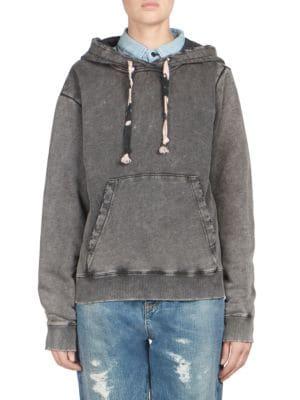 SAINT LAURENT Hoodie In Faded-Look Black Fleece With Tie-Dye Drawstring, Faded Black