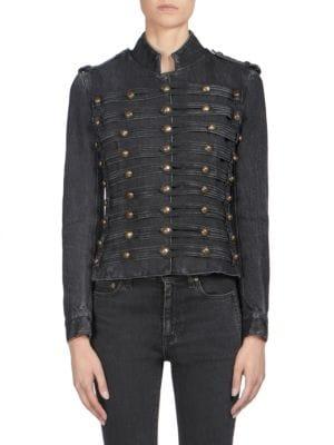 Denim Officers Jacket - Black Size Xl