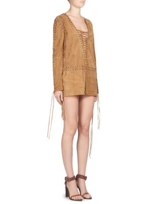 Lace-Up Suede Minidress - Camel Size 40 Fr in Brown