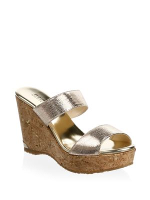 Parker 100 Metallic Textured-Leather Wedge Sandals, Gold