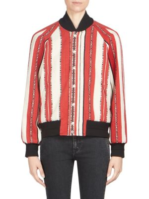 Varsity Jacket In Red And Chalk-Colored Berber Wool, Red-Chalk
