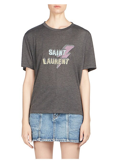 """Image of Cotton tee with lightning logo print. Roundneck. Short sleeves. Pull-on style. About 24"""" from shoulder to hem. Viscose/polyester. Machine wash. Made in Italy. Model shown is 5'10"""" (177cm) wearing size Small."""