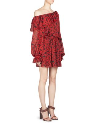 Mini Dress With Asymmetric Ruffle In Black Georgette Silk Printed With Red Poppies, Red-Black