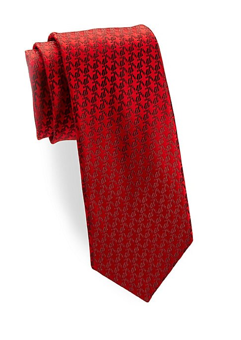 """Image of Allover tonal pattern adds richness to this silk tie.3.3"""" wide. Silk. Dry clean. Made in France."""