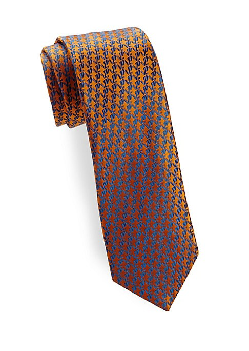"""Image of Allover tonal pattern adds richness to this silk tie.3.3"""" wide. Silk. Dry clean. Made in Italy."""