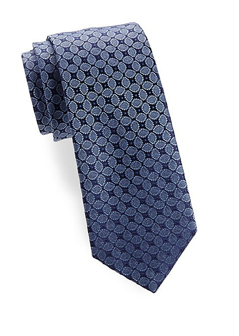 """Image of Allover tonal pattern adds richness to this silk tie. Silk. Dry clean. Made in France. SIZE.3.3"""" wide."""