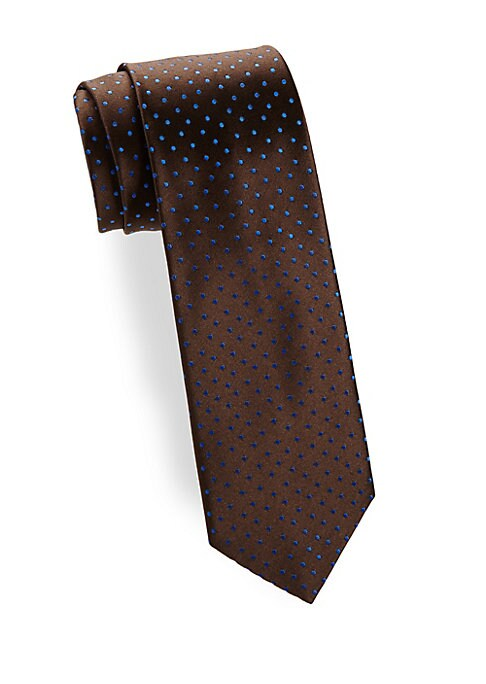 """Image of Allover polka dots contrast this silk tie. Silk. Dry clean. Made in France. SIZE.3.3"""" wide."""