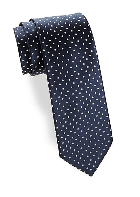 """Image of Allover polka dots contrast this silk tie.3"""" wide. Silk. Dry clean. Made in France."""
