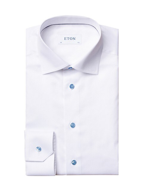 Contemporary-Fit Twill Dress Shirt with Blue Details