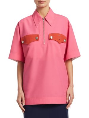 Half-Zip Short-Sleeve Boxy Shirt, Begonia