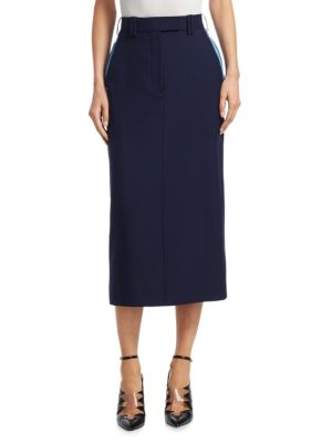 Colorblocked Piqué Pencil Skirt in Blue