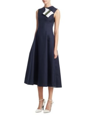 Sleeveless Fit-And-Flare Tea-Length Dress With Striped Foldover in Blue