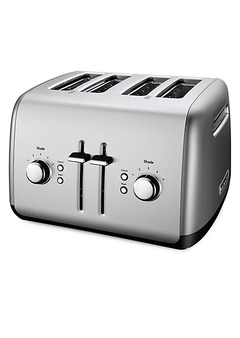 "Image of .Four-slice toaster with extra-wide slots and a manual lift lever. Kitchenaid 4-slice toaster with manual lift lever and 5 shade settings. Extra Wide Slots: 1.5"".High Lift Lever.5-Shade Settings. Under Base Cord Storage. Stainless steel. Spot clean. Impor"