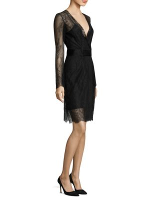 Diane Von Furstenberg  Lace Overlay Wrap Dress