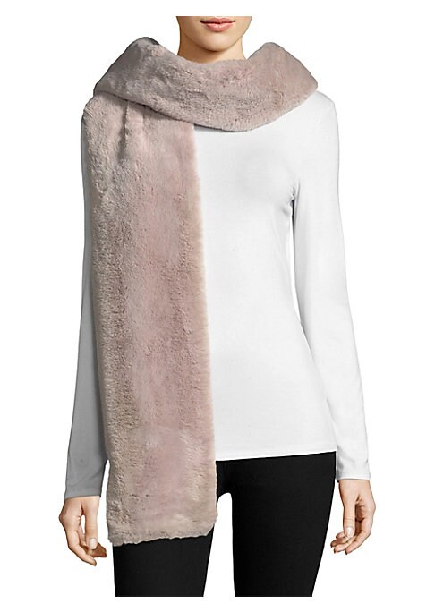 """Image of Dual textures pair in this cozy, lush scarf.12""""W x 100""""L.Polyester/cotton. Fur type: Faux. Dry clean. Made in USA."""