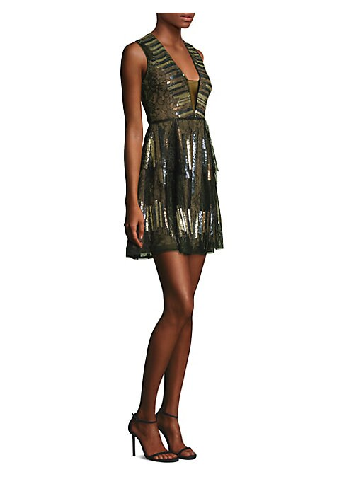 "Image of Chic fit-&-flare dress with sequins and front illusion panel. Deep V-neck. Sleeveless. Concealed back zip. About 35"" from shoulder to hem. Polyester/spandex. Dry clean. Imported. Model shown is 5'10"" (177cm) wearing US size 4."