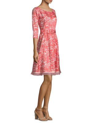 Silk Fit-&-Flare Belt Dress in Red