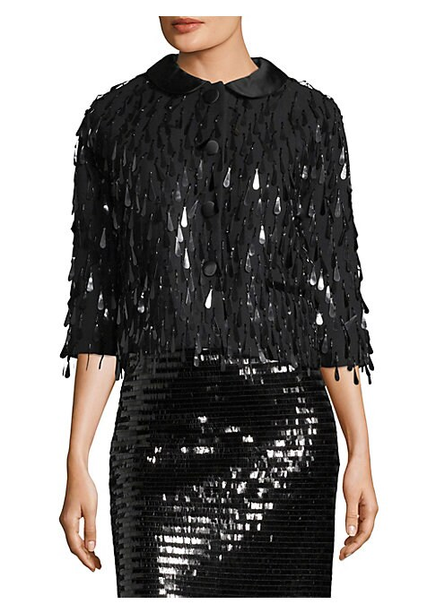 """Image of Large tassel sequins adorn this wool-blend jacket. Satin Peter Pan collar. Three-quarter sleeves. Button front. Waist welt pockets. Lined. About 23"""" from shoulder to hem. Wool/polyester/satin. Dry clean. Made in USA. Model shown is 5'10"""" (177cm) wearing U"""