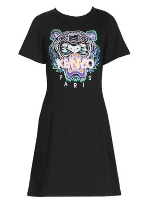 Tiger Embroidered Cotton T-Shirt Dress, Black