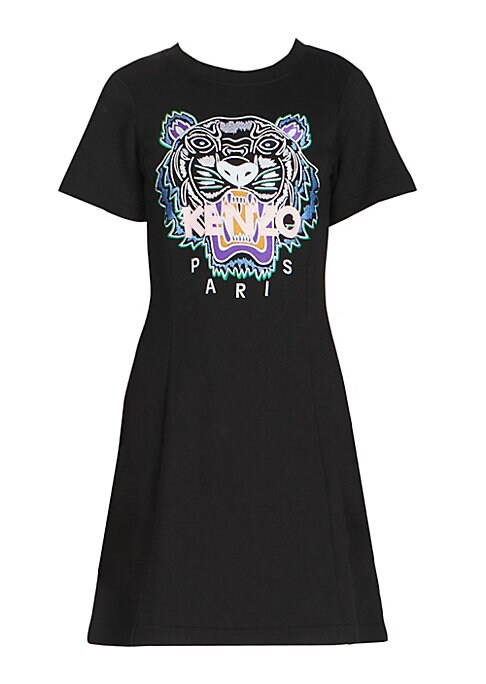 "Image of Tiger graphic elevates this cotton-blend t-shirt dress. Roundneck. Short sleeves. Pullover style. About 34"" from shoulder to hem. Cotton/elastane. Machine wash. Imported. Model shown is 5'10"" (177cm) wearing size Small."