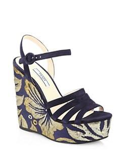 81ffe88813b Prada Brocade Suede Wedge Sandals