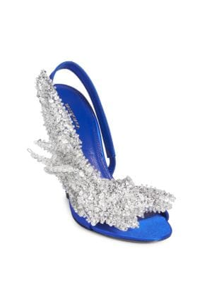 Slip-On Satin Pumps, Blue Roi Crystal