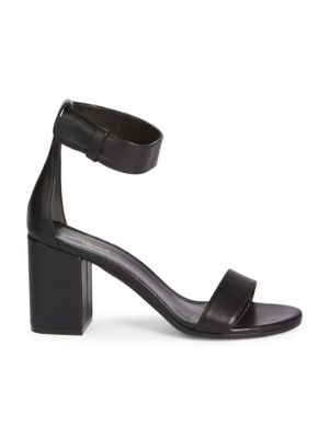 """Image of Leather sandals perfect for your next special event. Block heel, 3.25"""" (80mm).Leather upper. Open toe. Adjustable ankle strap. Leather sole. Made in Italy."""