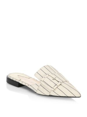 Image of Contrasting broken line design highlight these sturdy slides. Viscose upper. Point toe. Slip-on style. Leather sole. Padded insole. Made in Italy.