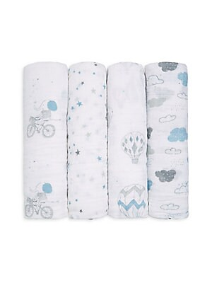 Image of Blue patterns adorn soft swaddle blanket set Set of four 47W x 47H Cotton Machine wash Imported. Children's Wear - Layette Apparel And Acce > Saks Fifth Avenue. aden + anais. Color: Night Sky.