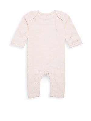 Image of Casual cotton coverall with allover foil details Envelope neckline Long sleeves Inseam snap closure Cotton Machine wash Imported. Children's Wear - Layette Apparel And Acce. aden + anais. Color: Metallic Primrose. Size: 6-9 Months.