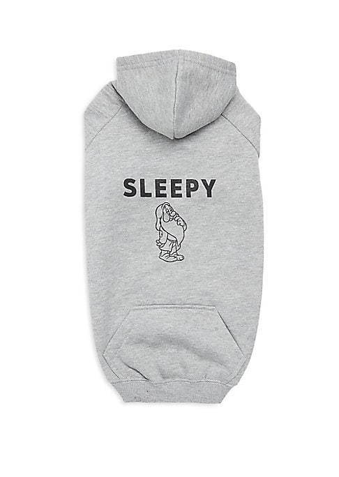 "Image of Adorable cotton-blend dog hoodie with Sleepy graphic. Attached hoodie. Ribbed sleeves and waistband. Length, about 12"".Cotton/polyester. Machine wash. Imported."
