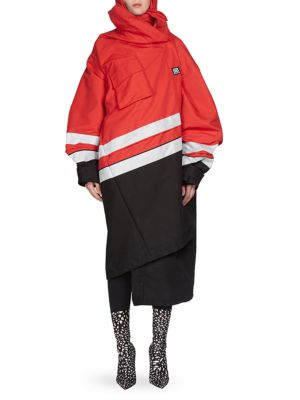Oversized Reflective-Trimmed Canvas Parka in Red