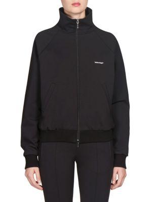 Logo Stretch Tech-Jersey Track Jacket - 1000-Black Size 42 Fr
