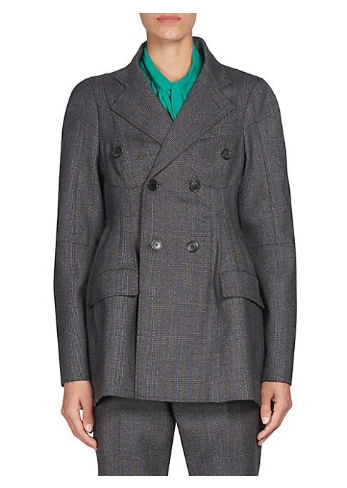 "Image of Checked double breasted jacket cut from wool-blend fabric. Notch collar. Long sleeves. Front flap pockets. Double breasted button-front. About 27"" from shoulder to hem. Virgin wool/cotton/cupro. Dry clean. Made in France. Model shown is 5'10"" (177cm) wear"