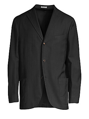"""Image of From the Saks IT LIST THE JACKET The wear everywhere layer that instantly dresses you up. On-trend wool jacket with allover herringbone design Peak lapels with buttonhole Long sleeves Chest welt pocket Front patch pockets About 29"""" from shoulder to hem Wo"""