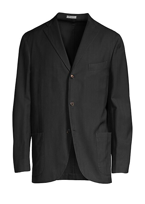 """Image of From the Saks IT LIST. THE JACKET. The wear everywhere layer that instantly dresses you up. On-trend wool jacket with allover herringbone design. Peak lapels with buttonhole. Long sleeves. Chest welt pocket. Front patch pockets. About 29"""" from shoulder to"""