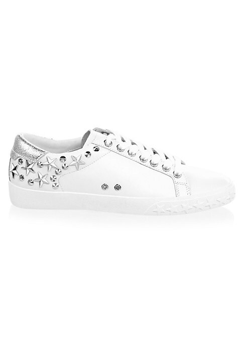Image of Leather low-top sneakers with star and stud embellishments. Leather upper. Round toe. Lace-up vamp. Leather lining. Star-embossed rubber sole. Imported.