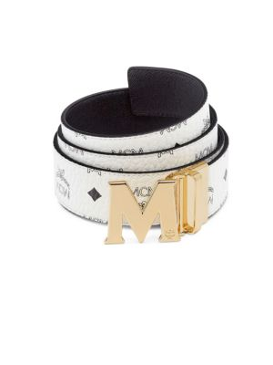 "Image of Reversible belt with coated signature monogram and 'M' buckle. Width, about 1.75"".Leather/canvas. Made in Italy."
