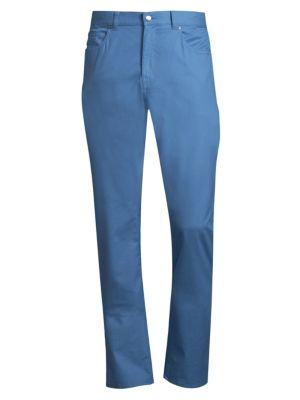 "Image of Soft cotton-blend pants with embossed brand logo patch on back. Belt loops. Zip fly with button closure. Five-pocket style. Rise, about 10"".Inseam, about 36"".Pima cotton/spandex. Machine wash. Imported."