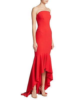 """Image of Alluring hi-lo strapless finished with flounced hem Straight across neckline Sleeveless Hi-lo hem About 41"""" from top to hem Polyamide/elastane Hand wash Made in Italy Model shown is 5'10"""" (177cm) wearing US size 4. Dress Collectio - Contemporary Evening."""